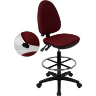 Flash Furniture Mid-Back Fabric Multi-functional Drafting Stool Burgundy - WL-A654MG-BY-D-GG