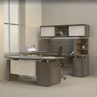 Mayline Sterling Executive U-Shaped Desk 72 with two Pedestals Textured Driftwood - STL41H3-TDW
