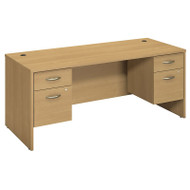 Bush Business Furniture Series C Package Desk with Two 3/4 Pedestals Light Oak - SRC008LOSU
