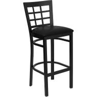 Flash Furniture Window Back Metal Restaurant Barstool with Black Vinyl Seat - XU-DG6R7BWIN-BAR-BLKV-GG