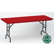 Correll R-Series Heavy Duty Blow-Molded Plastic Folding Table Adjustable Height Colored 30 x 72  - RA3072C