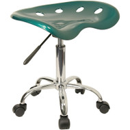 Flash Furniture Vibrant Green Tractor Seat and Chrome Stool  -  LF-214A-GREEN-GG