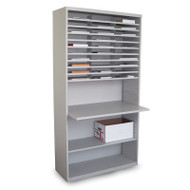 "Marvel 30 Compartment Mail Sorter Station with Adjustable Work Surface Slate Gray 80""H x 42""W - UTMS8042_GRY"