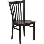 Flash Furniture School House Metal Restaurant Chair with Mahogany Wood Seat - XU-DG6Q4BSCH-MAHW-GG