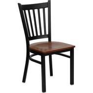 Flash Furniture Vertical Back Metal Restaurant Chair with Cherry Wood Seat - XU-DG-6Q2B-VRT-CHYW-GG