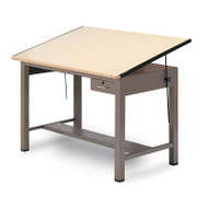 "Mayline Ranger Steel Four-Post Drafting Table with Tool Drawer 84"" - 7739A"