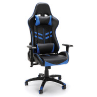 OFM Essentials High-Back Black Leather Racing Style Gaming Chair with Blue Accents - ESS-6065-BLU