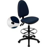 Flash Furniture Mid-Back Fabric Multi-functional Drafting Stool Navy Blue - WL-A654MG-NVY-D-GG