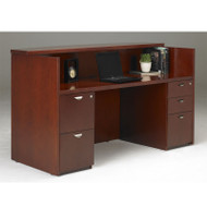 Mayline Mira Reception Desk Station with One B/B/F and One F/F Pedestal 72W x 36D x 43.5H Medium Cherry - MRSBF-MC