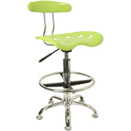 Flash Furniture Vibrant Apple Green and Chrome Drafting Stool / Bar Stool with Tractor Seat -  LF-215-APPLEGREEN-GG