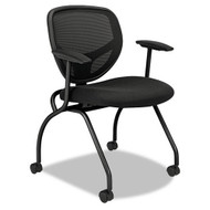 Basyx Black Mesh Back Nesting Arm Chair (2-Pack) - VL301MM10