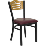 Flash Furniture Slat Back Metal Restaurant Chair with Burgundy Seat and Natural Wood Back - XU-DG-6G7B-SLAT-BURV-GG