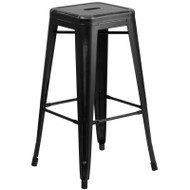 "Flash Furniture Distressed Black Metal Indoor-Outdoor Barstool 30""H - ET-BT3503-30-BK-GG"