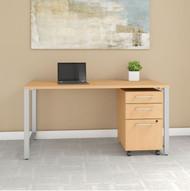 "Bush Business Furniture 400 Series Table Desk 60"" x 30"" w 3-Drawer Mobile Pedestal, Natural Maple - 400S150AC"
