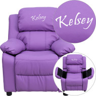 Flash Furniture Kid's Recliner with Storage Dreamweaver Embroiderable Lavender Vinyl - BT-7985-KID-LAV-EMB-GG