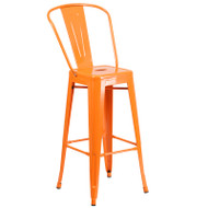 """Flash Furniture Orange Metal Indoor-Outdoor Bar Height Chair 30""""H - CH-31320-30GB-OR-GG"""