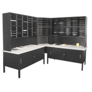 "Marvel 120 Adjustable Slot Corner Literature Organizer with Cabinet Black 90""W x 90""D x 70-78""H - UTIL0016"