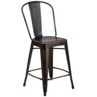 "Flash Furniture Distressed Copper Metal Indoor-Outdoor Counter Height Chair 24""H - ET-3534-24-COP-GG"