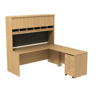"Bush Business Furniture Series C Package L-Shaped Desk with Hutch and Mobile File Cabinet in Light Oak 72"" - SRC0018LOSU"