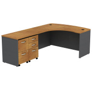 Bush Business Furniture Series C Package L-Shaped Bowfront Left with 2 Mobile Pedestals Natural Cherry - SRC034NCLSU