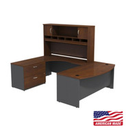 "Bush Business Furniture Series C Executive U-Shaped Bowfront Desk 72"" with Hutch and Storage in Hansen Cherry Left - SRC005HCLSU"