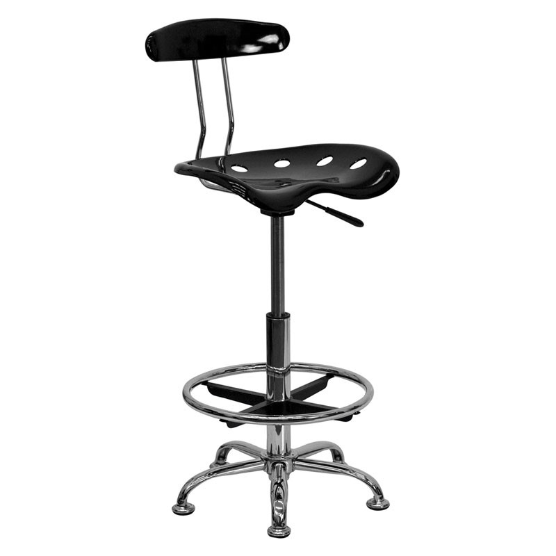 Astounding Flash Furniture Vibrant Black And Chrome Drafting Bar Stool With Tractor Seat Lf 215 Blk Gg Gmtry Best Dining Table And Chair Ideas Images Gmtryco