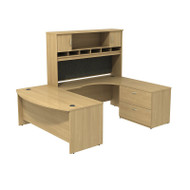 "Bush Business Furniture Series C Package U-Shaped Bowfront Desk Right with Hutch and Storage in Light Oak 72"" - SRC005LORSU"