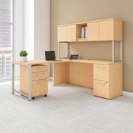 """Bush Business Furniture 400 Series L-Shaped Table Desk 72"""" x 22"""" with 48"""" Return, Hutch and 3 Drawer Pedestal, Natural Maple - 400S127AC"""