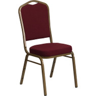 Flash Furniture Hercules Series Crown Back Stacking Banquet Chair with Burgundy Fabric - FD-C01-ALLGOLD-3169-GG