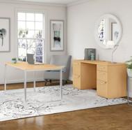 "Bush Business Furniture 400 Series Table Desk 60"" x 30"" w Double Pedestal Credenza,  Natural Maple - 400S138AC"