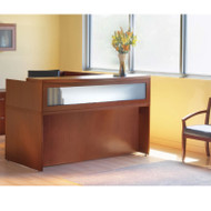 Mayline Aberdeen Reception Desk L-Shaped with Pedestals Cherry - AT36-LCR