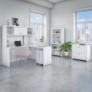 Bush Echo L-Shaped Desk with  Hutch, File Storage and Bookcase - ECH028PW