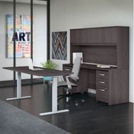 "Bush Business Furniture Studio C Desk and Height Adjustable Standing Desk Package 72"" Storm Gray - STC016SG"