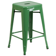 """Flash Furniture Green Metal Indoor-Outdoor Counter Height Stool 24""""H - CH-31320-24-GN-GG"""