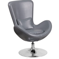 Flash Furniture Egg Series Reception Lounge Side Chair LeatherSoft Gray - CH-162430-GY-LEA-GG