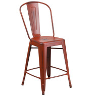 "Flash Furniture Distressed Red Metal Indoor-Outdoor Counter Height Chair 24""H - ET-3534-24-RD-GG"