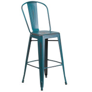 "Flash Furniture Distressed Kelly Blue-Teal Metal Indoor-Outdoor Bar Height Chair 30""H - ET-3534-30-KB-GG"
