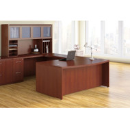 Mayline Aberdeen Executive U-Shaped Desk 72 w/Glass Door Hutch Package Cherry - AT91-LCR