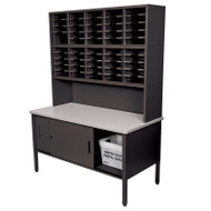 "Marvel 50 Adjustable Slot Literature Organizer with Riser and Cabinet Black 60""W x 30""D x 76-84""H - UTIL0020"