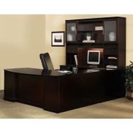 Mayline Sorrento Left U-Shaped Bowfront Desk and Hutch Package Espresso - ST6