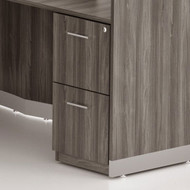 Mayline Medina Laminate Pedestal Drawer for Reception Desk (File/File) Assembled, Gray Steel - MNRFF-LGS