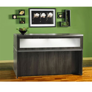 Mayline Aberdeen Reception Desk without Pedestal File Drawer Gray Steel - ABEPackage3-LGS