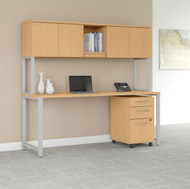"Bush Business Furniture 400 Series Table Desk 72"" x 30"" with Hutch and 3 Drawer Mobile Pedestal, Natural Maple- 400S174AC"