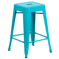 "Flash Furniture Crystal Teal-Blue Metal Indoor-Outdoor Counter Height Stool 24""H - ET-BT3503-24-CB-GG"