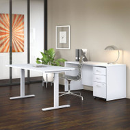 "Bush Business Furniture Studio C Desk and Height Adjustable Standing Desk Package 60"" White - STC017WH"