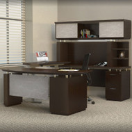Mayline Sterling Executive U-Shaped Desk 72 with two Pedestals Textured Mocha - STL41H3-TDC