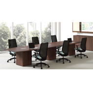 "HON Preside Modular Laminate Conference Table Boat Shape with Cube Base 192"" - HTLC48192-CUBE192"