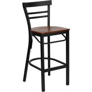 Flash Furniture Ladder Back Metal Restaurant Barstool with Cherry Wood Seat - XU-DG6R9BLAD-BAR-CHYW-GG