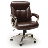 OFM Essentials Mid-back Brown Leather Task Chair with Champagne Frame - ESS-6020-BRN