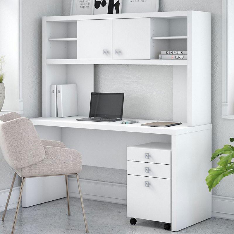 Bush Echo Credenza Desk With 3 Drawer Mobile File And Hutch 60 W Ech006pw
